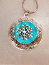 Load image into Gallery viewer, glow in the dark snowflake locket necklace