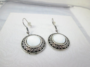 Antique Silver White Shell Eclipse Earrings