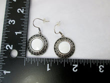 Load image into Gallery viewer, Antique Silver White Shell Eclipse Earrings