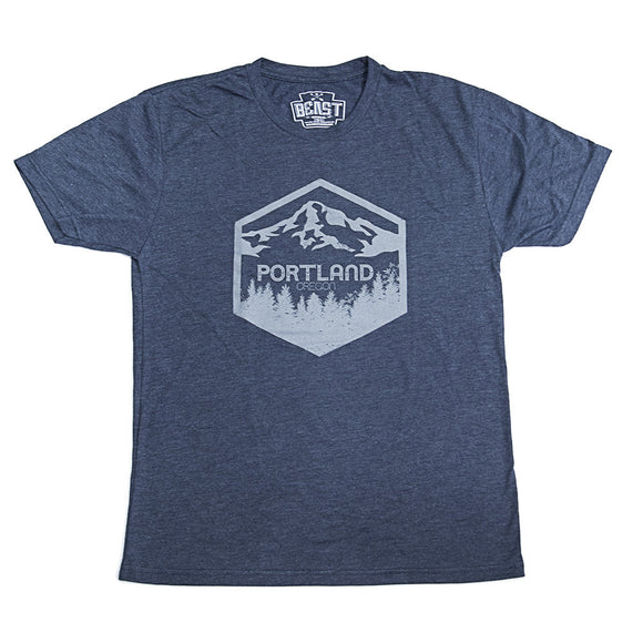 mens vintage navy t-shirt portland Oregon cannabis mt hood pacific NW collection
