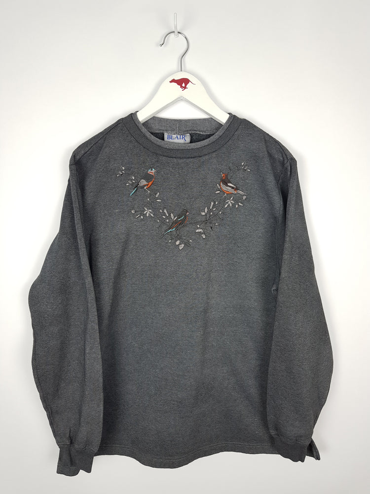 Birds and Flowers Embroidered Sweater (M)