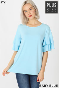 Double Ruffle Sleeve Tops