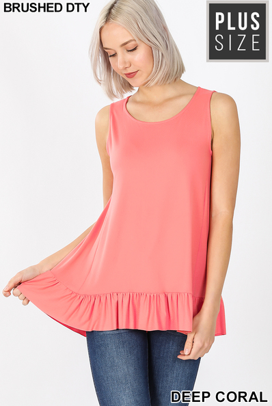 Sleeveless Ruffle Hi-Low Hem Tops