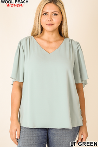 Woven Waterfall Sleeve Top