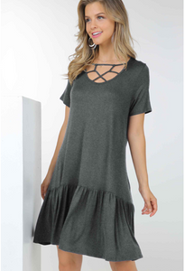 Solid Criss-Cross Tiered Dresses