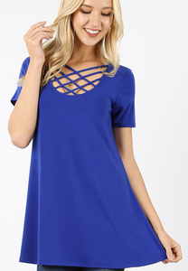 Lattice Short Sleeve Tops