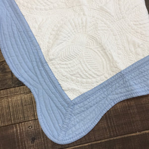 Heirloom Baby Quilt - Blue Edge