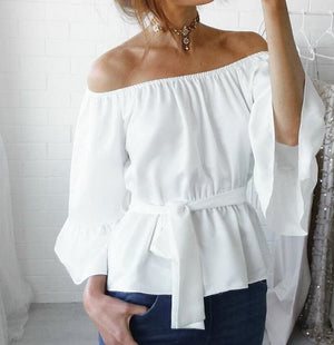Off-Shoulder White Blouse