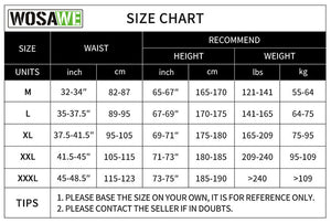 Sports and Mountain Bike Shorts Size Chart