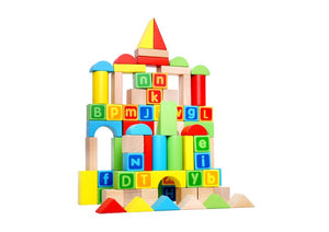 80 Piece Wooden Building Block Set