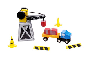 Wooden Crane and Truck Set