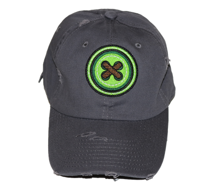 Gray Button Dad Hat - GREEN/BROWN Patch
