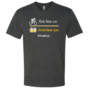 Ride Bike am Drink Beer pm - Adult Crew Neck