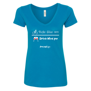 Ride Bike am, Drink Wine pm: Turquoise - Women's V-Neck