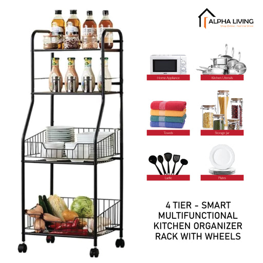 4 Tier Kitchen Rack Home Storage Shelf Organiser Basket Trolley with Wheels (KTN0158)