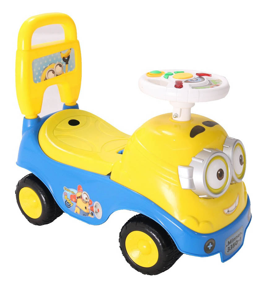 Children Minions Ride On Car Music Steering Kids Push Car Toys With