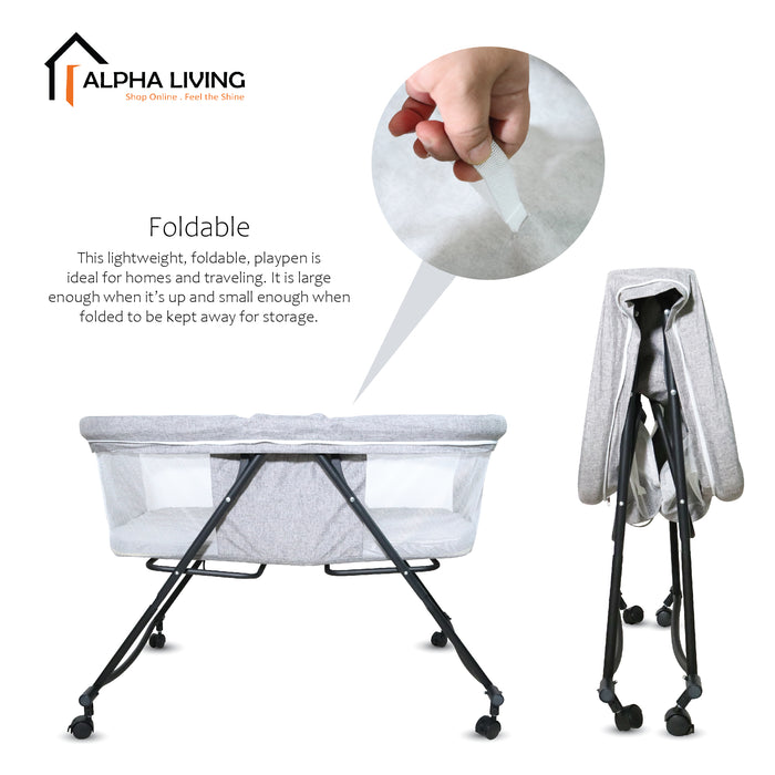 Multi function & portable playpen for infant baby folding cradle and swing (BAY0017GY)