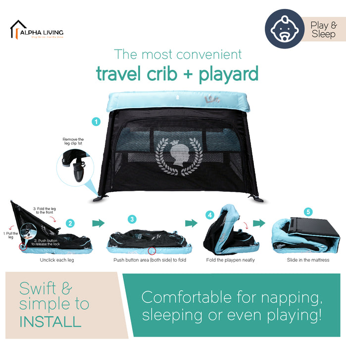 Travel Crib - Carry Bag Portable, Lightweight, Easy to Pack Play-Yard with Comfortable Mattress(BAY0182)
