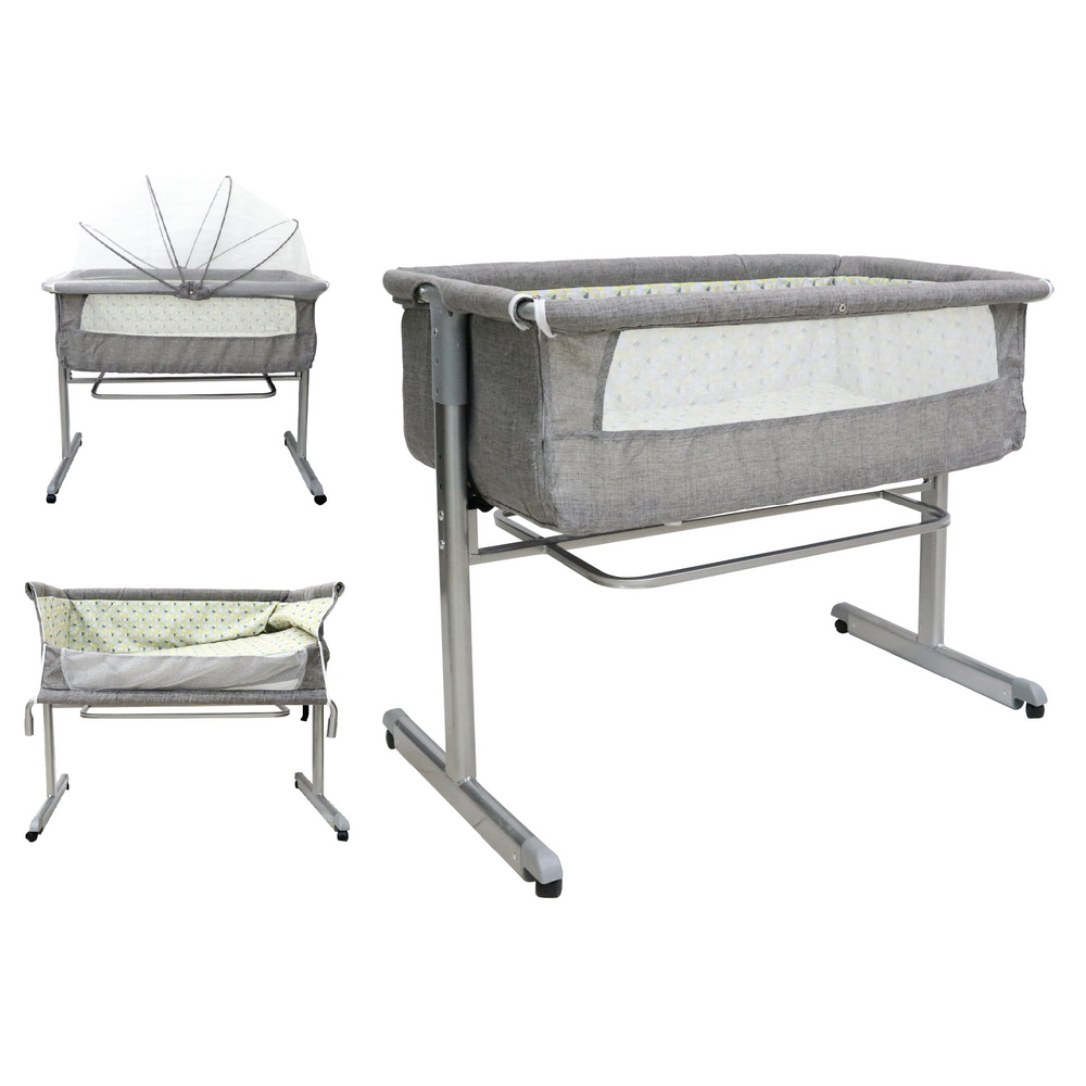 Baby Playpen Bedside Sleeper with mattress and mosquito net (BAY0074GY)