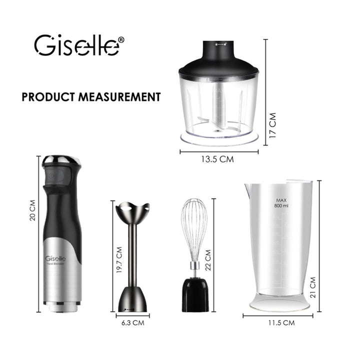 Giselle Hand Blender Set with Malaysia Plug 600W Food Processor Blender & Whisk (KEA0115)