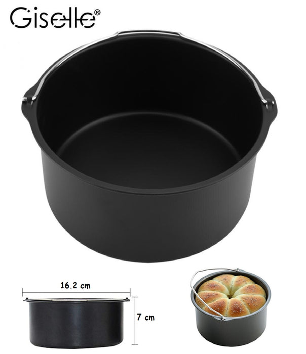 Air Fryer Accessories 6 in 1 Size 7 inches Oven Cake Barrel Pizza Pan Basket Barrel Silicon Mat Skewer Rack (KEA0199)
