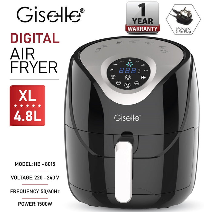 Giselle 4.8L Digital Air Fryer with Touch Control Timer Temperature Control - Black KEA0202