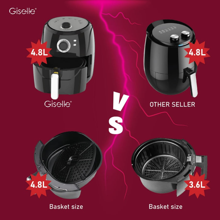Giselle 4.8L Manual Air Fryer with Timer & Temperature Control - Black KEA0204
