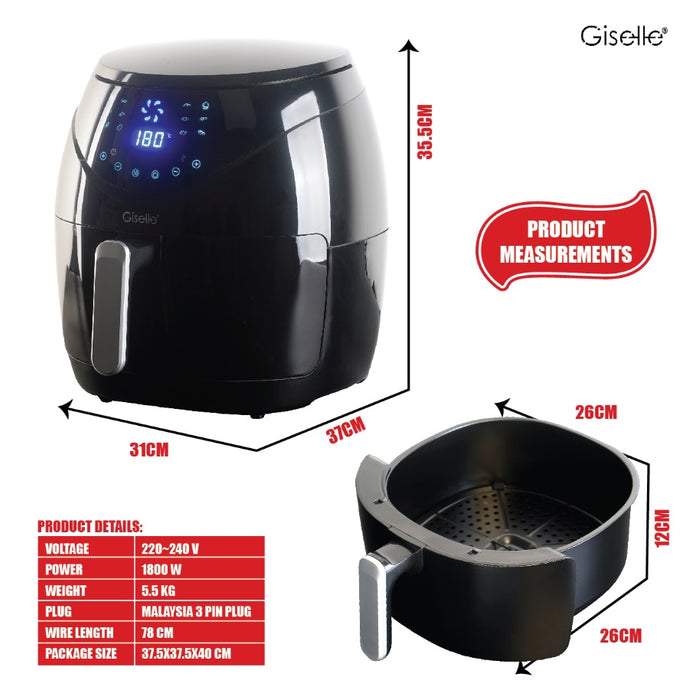 (Digital 12 Modes) Giselle 6.8L Digital Air Fryer with Touch Control Timer Temperature Control 1800W - Black KEA0206