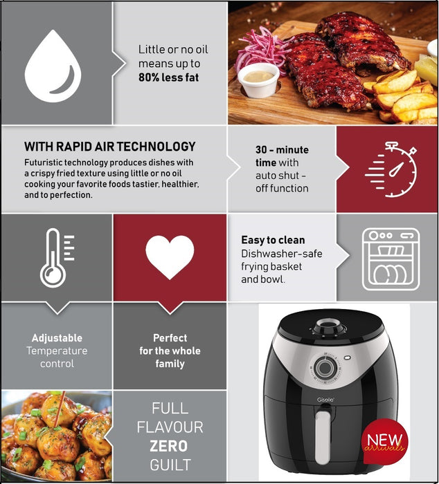 Giselle 6.8XXL Air Fryer with Timer & Temperature Control 1800W - Black KEA0207