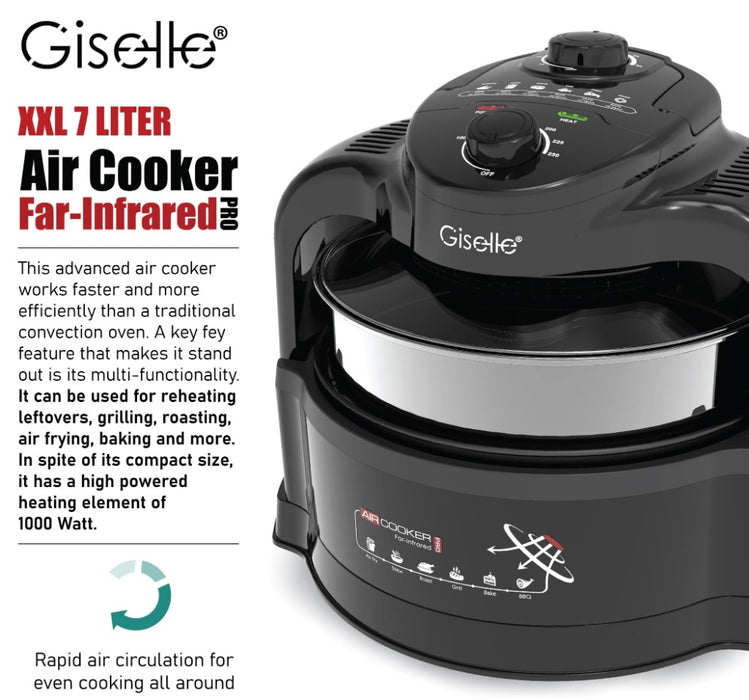 PRE ORDER -- Giselle Air Fryer, Air Cooker with a Glass Lid 7L Large Capacity Oil-Less Multi cooker with Extender Ring (KEA0320)