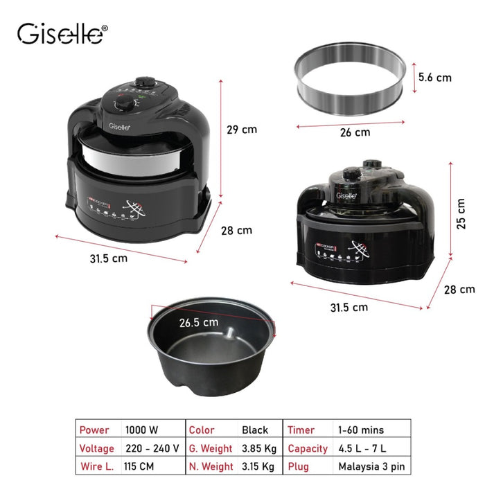 Giselle Air Fryer, Air Cooker with a Glass Lid 7L Large Capacity Oil-Less Multi cooker with Extender Ring (KEA0320)