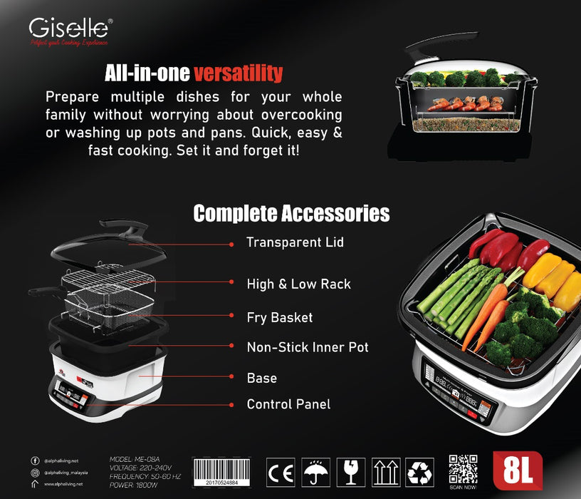 Giselle 18-in-1 Instant Multi-Function Cooker, Sous Vide, Roast, Grill, Bake, Boil, Fry, Slow Cook, Fast Stew, Hot Pot (KEA0321)
