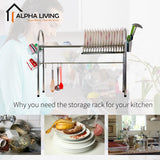 Stainless Steel Kitchen Dish Drainer Rack with Chopsticks Holder, Utensil Holder Cup (KTN0103)