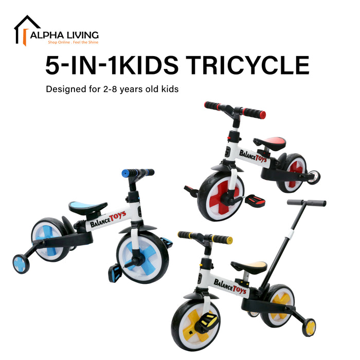 5-in-1 Kids Tricycle/Balance Bike/Push Bike (Excluded  Pushbar) for 1-5 Yrs Kids