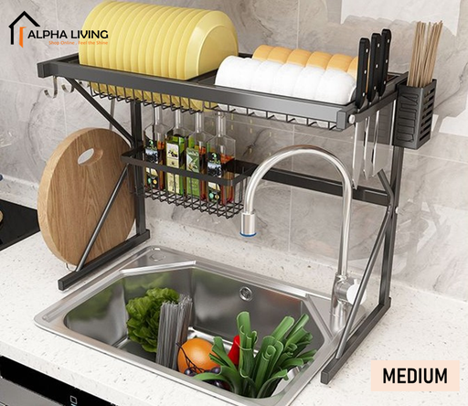 Rak pinggan mangkuk / Dish Drainer  / Double Sink Top Rack / Dish Rack / Kitchen Storage Basin Rack / Rak Dapur KTN0157