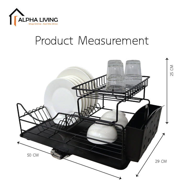 Ready Stock Counter Top Dish Drainer Rack with Tray Cutlery Holder (KTN0156)
