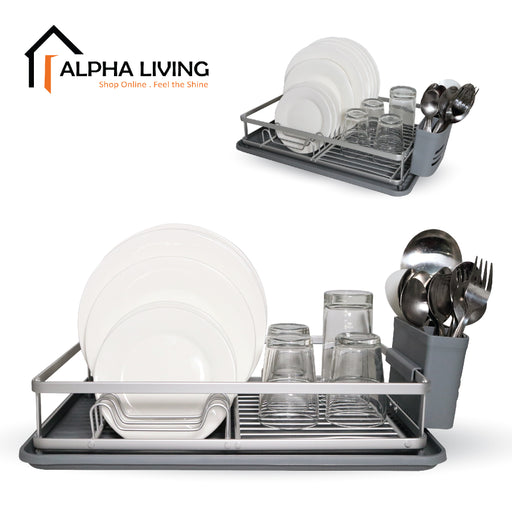 Ready Stock Counter Top Dish Drainer Rack with Tray Cutlery Holder (KTN0153)
