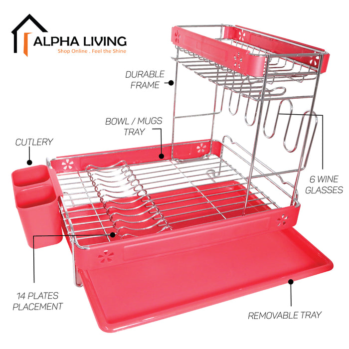READY STOCK Counter Top Dish Drainer Rack with Tray Cutlery Holder Kitchen Storage Organiser (KTN0154)
