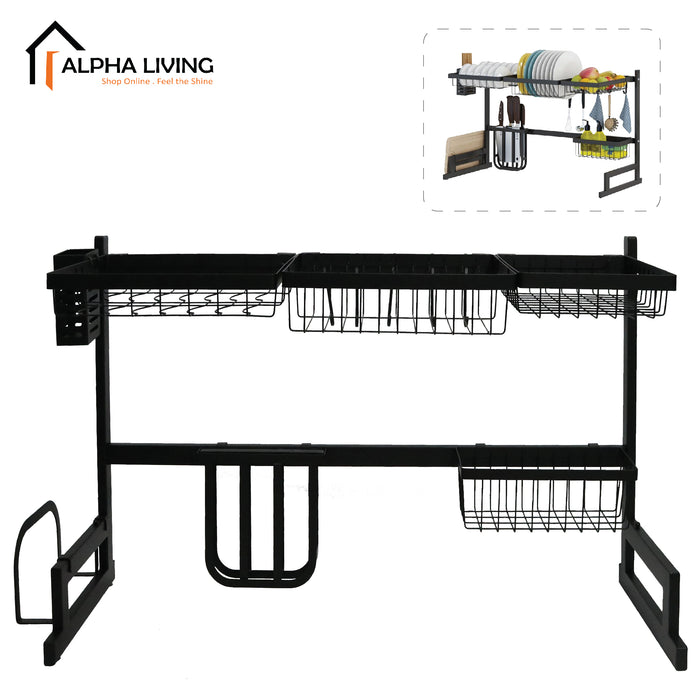 Powder Coated Steel Dish Drainer Kitchen Sink Top Rack Dish Rack Kitchen Basin Rack (KTN0155)