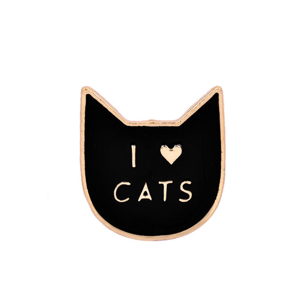 Black I Love Cats Enamel Pin