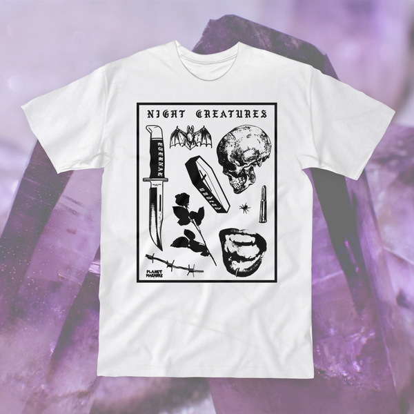 Pastel Goth Vampire Night Creatures White Unisex T-shirt Blvck Hipster Indie Hype Mens Womens Coffin Dead Afterlife Life Death Undead Eternal Barbed Wire Skull Knife Bat T-shirt