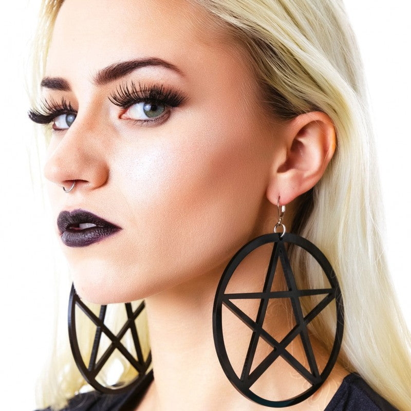 Pentagram Dangle Hoop Earrings