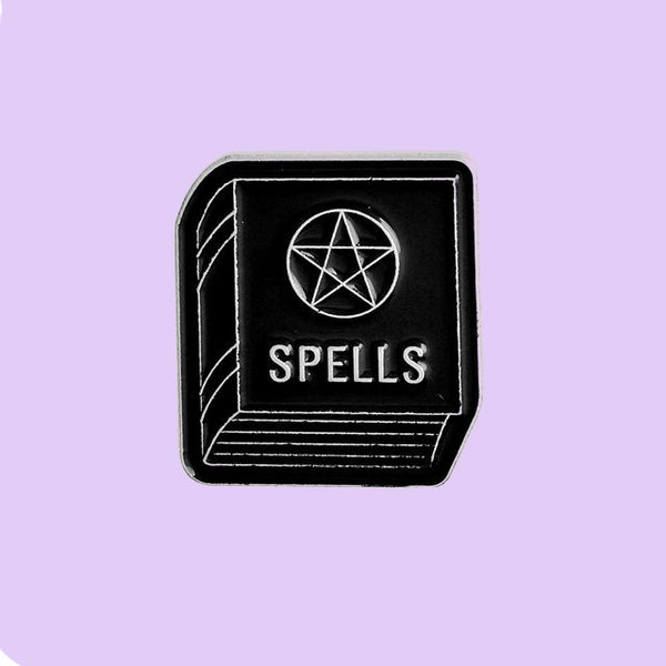 Spell Book occult witchcraft enamel pin by Planet Macabre