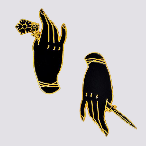 Rose and Dagger Enamel Pins in Gold
