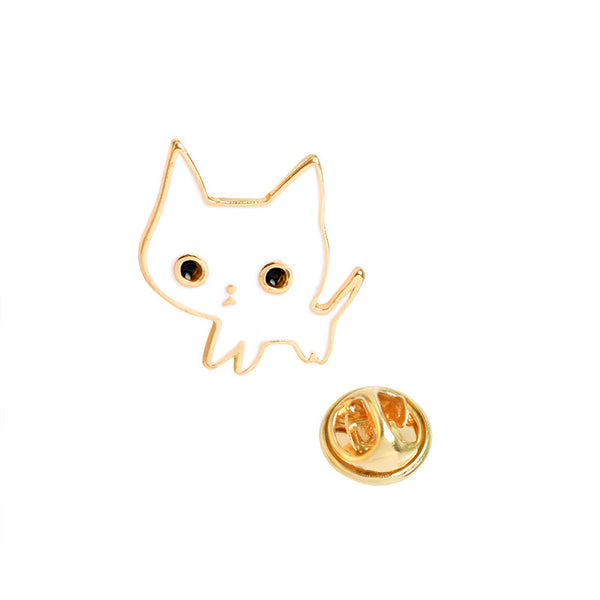 White Kitty Cat Enamel Pin