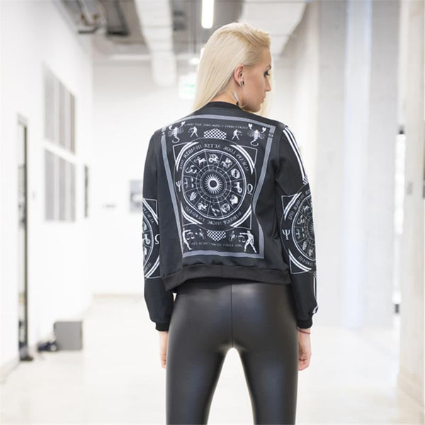 Zodiac Bomber Jacket Coat in Black by Planet Macabre