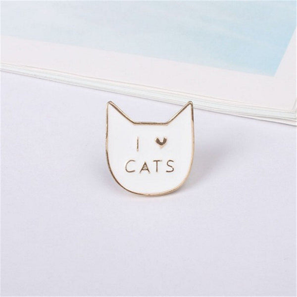 White I Love Cats Enamel Pin