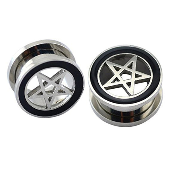 Pentagram Ear Plug Flesh Tunnel in Stainless Steel by Planet Macabre
