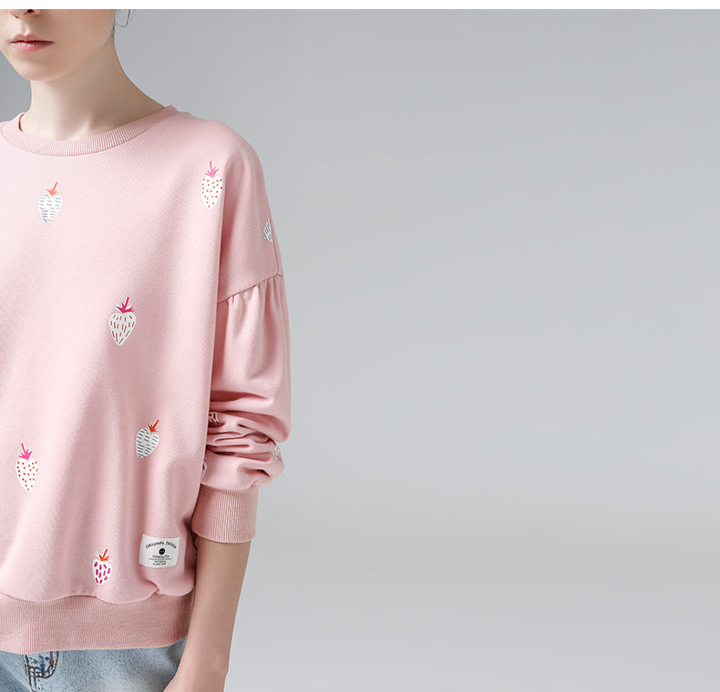 Embroidered Strawberry Crewneck