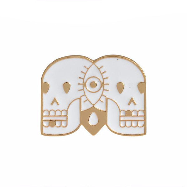 Twin Skulls Enamel Pin